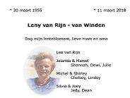 Overlijden van Leny van Rijn – Van Winden
